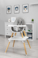 Syöttötuoli Tuva, harmaa, pöytä/tuoli