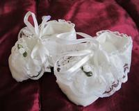 Kastekengät/tossut - valkoinen ruusuke - 68