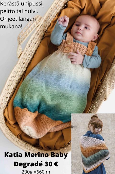 katia-merino-baby-degrade-lanka-vauvalanka-huivilanka-neulelanka-merinovilla-kaapelikierteinen-vauvan-unipussi-peitto-virkattu-kolmio-huivi-ohje-neuleohje
