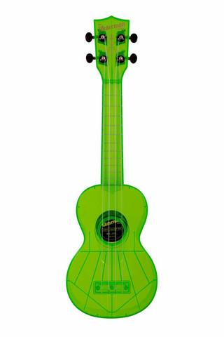Ukulele sopraano Kala Waterman Fluorescent Green