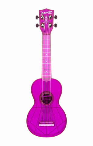Ukulele sopraano Kala Waterman fluorescent grape