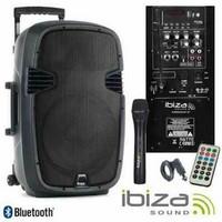PA-kaiutin akkukäyttöinen aktiivi, bluetooth mikseri Ibiza Sound Hybrid12VHFBT (sis 2kpl langatonta)
