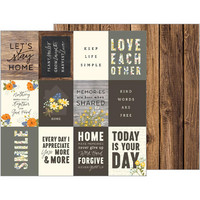 Jen Hadfield Simple Life Double-Sided Elements Cardstock, Simple Words 12x12