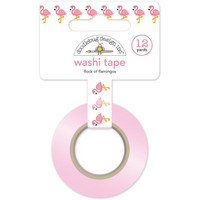Doodlebug Washi Tape, Flock Of Flamingos, 15mmX11m