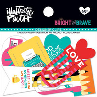 Illustrated Faith Bright Brave Designer Clips, Bright and Brave, 16kpl
