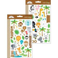 Doodlebug Mini Icons, At The Zoo Stickers, 2 arkkia