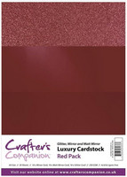 Crafter's Companion - Luxury Cardstock Pack, Red, 30 arkkia