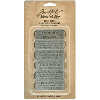 Tim Holtz - Idea-Ology Metal Quote Bands, Antique Nickel, 6 kpl