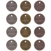 Tim Holtz - Idea-Ology Metal Philosophy Tags, Antique Nickel, Brass & Copper, 12 kpl