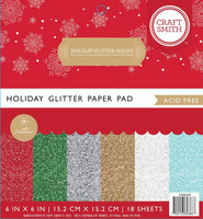 Craft Smith - Holiday Glitter Solids, 6''x6'', 18 sivua