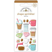 Doodlebug - Cream & Sugar Latte Love, Sprinkles Adhesive Glossy Enamel Shapes