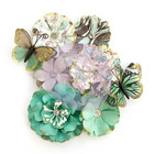 Prima Marketing - Zella Teal Flowers, Butterfly Kisses