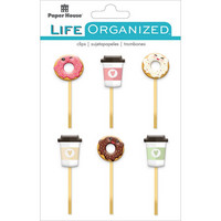 Paper House - Life Organized Epoxy Clips, Coffee & Donuts, 6 kpl
