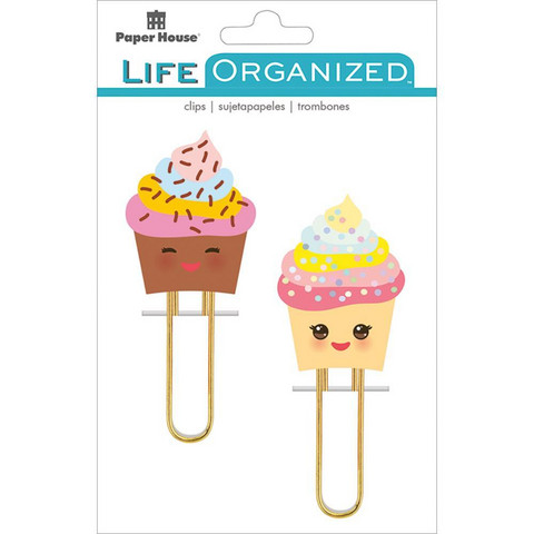 Paper House - Life Organized Puffy Clips, Kawaii Cupcakes, 2 kpl