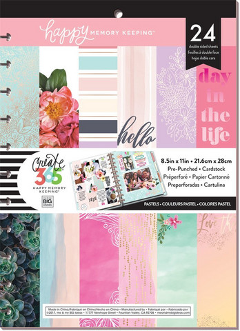 MAMBI - Happy Planner Memory Keeping, BIG Cardstock Pad, Pastels