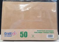 Craft UK - Korttipohja, kraft, A6, 50kpl, sis.kirjekuoret