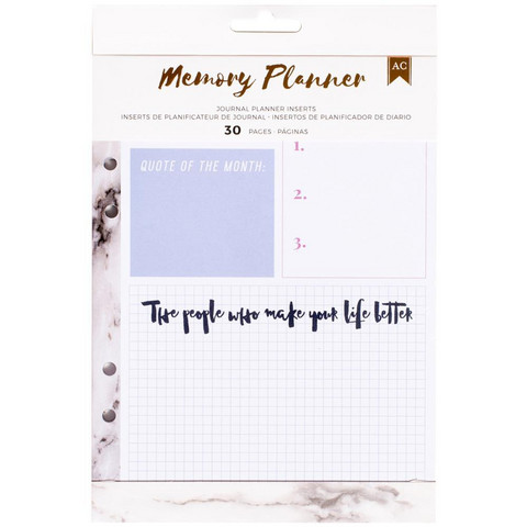American Crafts - Memory Planner Inserts, Marble Crush Journal
