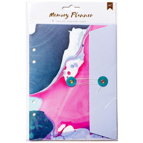 American Crafts - Memory Planner Insert, Marble Crush String Tie Pocket Envelope
