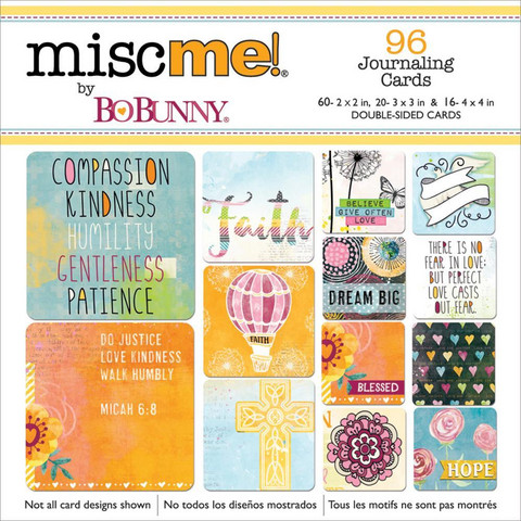 BoBunny - Misc Me Pocket Squares Journaling Cards, Faith, 96 kpl