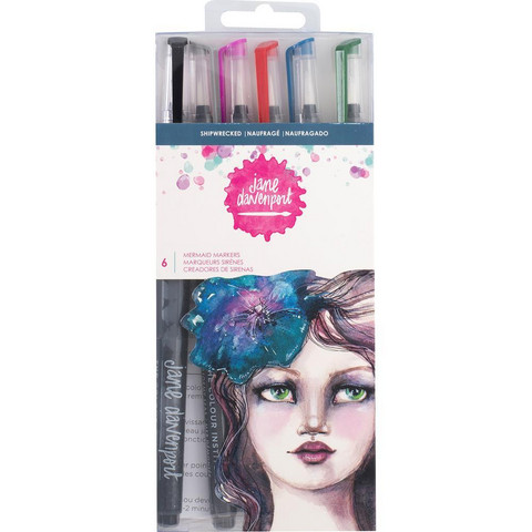 Jane Davenport - Mixed Media Mermaid Watercolor Markers, Shipwrecked, 6 kpl