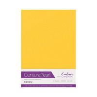 Crafter`s Companion - Helmiäiskartonki, Canary, A4, 10 arkkia