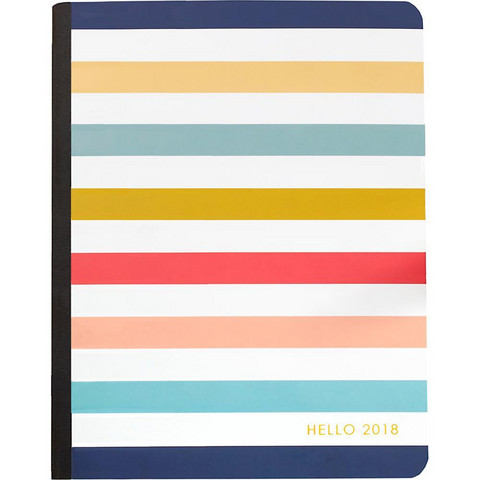 Color Crush Composition Planner Notebook, Striped, Dated 2018