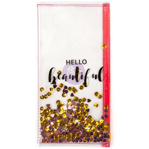 Prima Traveler's Journal - Clear Shaker Pouch, Hello Beautiful, Taskuinsertti