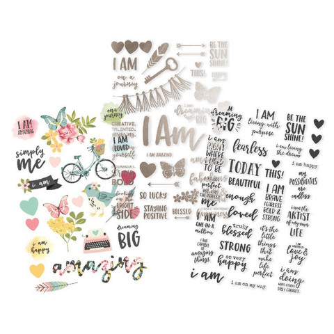 Simple Stories - Carpe Diem I Am Clear Stickers, Tarrasetti, 3 arkkia