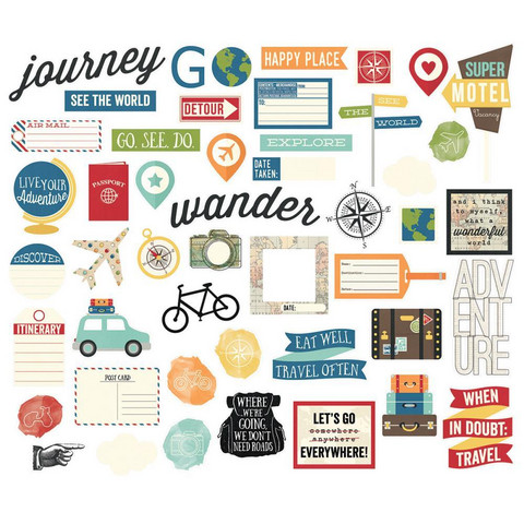 Simple Stories - Travel Notes Bits & Pieces Die-Cuts, 53 kpl