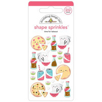 Doodlebug - Sprinkles Adhesive Glossy Enamel Shapes, Time For Takeout, 29 osaa