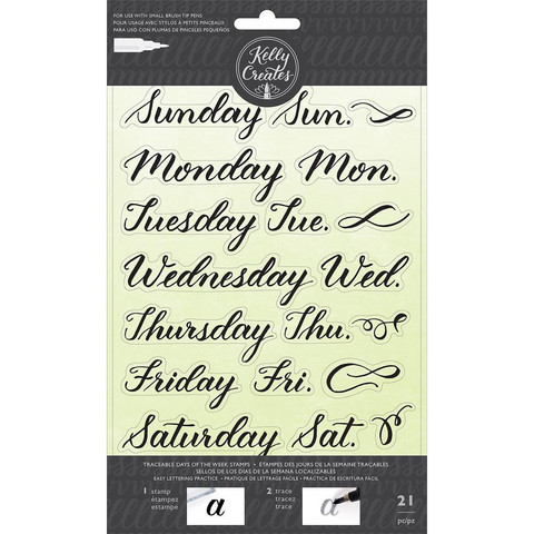 Kelly Creates - Acrylic Traceable Stamps, Days Of The Week, Leimasetti