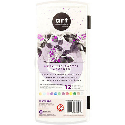 Prima Marketing - Metallic Accents Semi-Watercolor Paint Set, Pastel