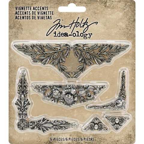 Tim Holtz - Idea-Ology Metal Vignette Accents, 6 kpl