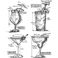 Tim Holtz - Cling Stamps, Cocktails Blueprint, Leimasetti