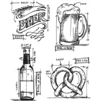 Tim Holtz - Cling Stamps, Beer Blueprint, Leimasetti