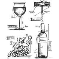 Tim Holtz - Cling Stamps, Wine Blueprint, Leimasetti