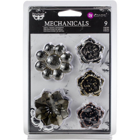Finnabair - Mechanicals Metal Embellishments, Flowers, 9 kpl