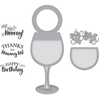 Spellbinders - Wine Glass Bottle Tag, Leima- ja stanssisetti