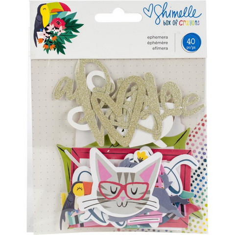 Shimelle - Ephemera Cardstock Die-Cuts, Box Of Crayons, 40 osaa