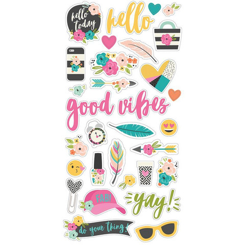 Simple Stories - Good Vibes Chipboard Stickers 6