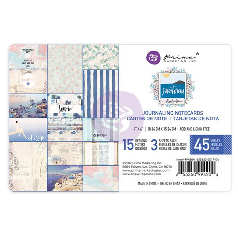 Prima Marketing - Santorini Journaling Notecards, 4