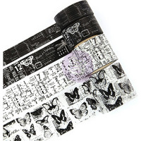 Prima Marketing - Traveler's Journal Vintage Decorative tape, Black & White, 4 rullaa