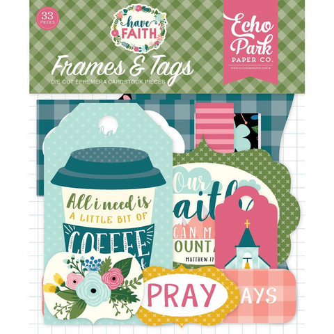 Echo Park - Have Faith Cardstock Die-Cuts, Leikekuvia, Frames & Tags, 33 kpl