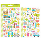 Doodlebug - Mini Cardstock Stickers, Sweet Summer Icons, 2 arkkia
