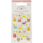 Doodlebug - Sprinkles Adhesive Glossy Enamel Shapes, Tropical Punch, 22 osaa
