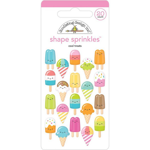 Doodlebug - Sprinkles Adhesive Glossy Enamel Shapes, Cool Treats, 20 osaa