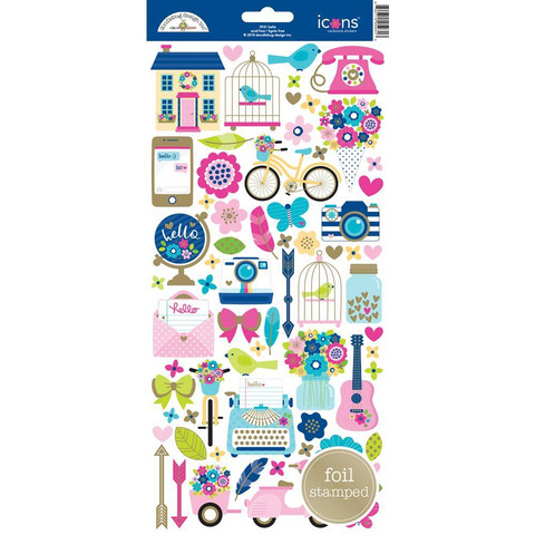 Doodlebug - Cardstock Stickers, Hello Icons