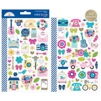 Doodlebug - Mini Cardstock Stickers, Hello Icons, 2 arkkia