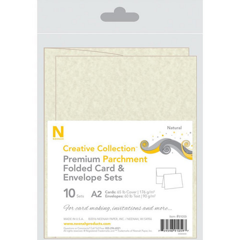 Neenah - A2 Heavy Weight Cards/Evelopes, Natural Parchment, 10 kpl