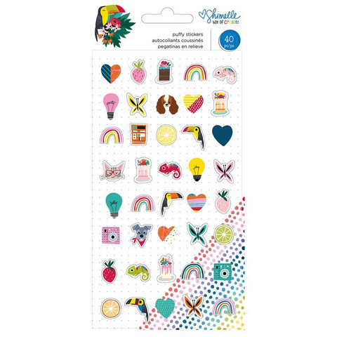 Shimelle - Box Of Crayons Puffy Stickers, Mini Icons, 40 kpl